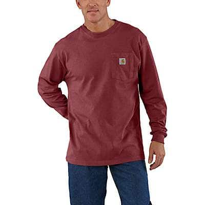 Carhartt Men's Sun-Dried Tomato Heather Workwear Long-Sleeve Pocket T-Shirt - front