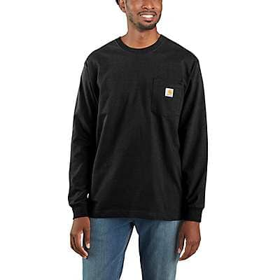 Carhartt Men's Black Workwear Long-Sleeve Pocket T-Shirt - front