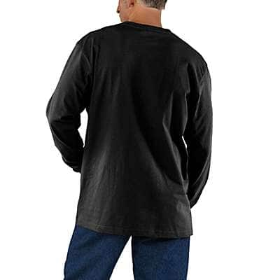 Carhartt Men's Olivine Heather Workwear Long-Sleeve Pocket T-Shirt - back