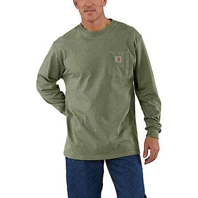 Carhartt Men's Olivine Heather Workwear Long-Sleeve Pocket T-Shirt - front