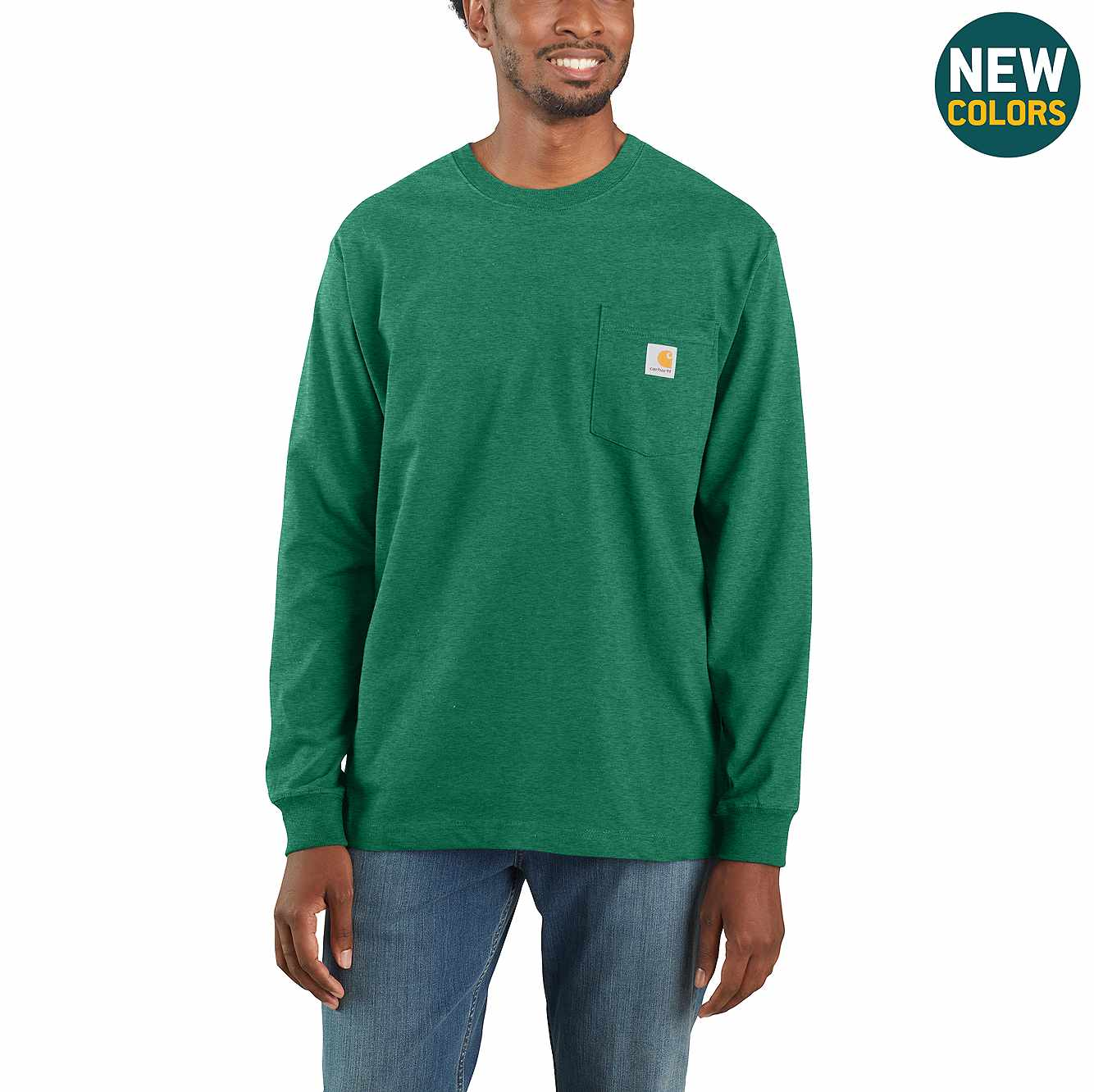 Picture of Loose Fit Heavyweight Long-Sleeve Pocket T-Shirt in North Woods Heather