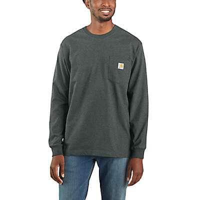 Carhartt Men's Elm Heather Loose Fit Heavyweight Long-Sleeve Pocket T-Shirt