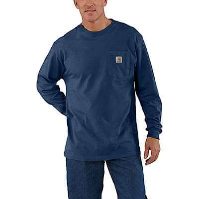 Carhartt Men's Dark Cobalt Blue Heather Loose Fit Heavyweight Long-Sleeve Pocket T-Shirt