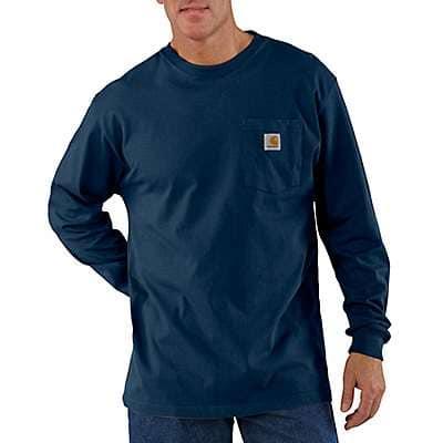 Carhartt Men's Navy Loose Fit Heavyweight Long-Sleeve Pocket T-Shirt
