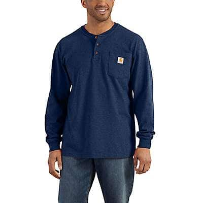 Carhartt Men's Black Workwear Long-Sleeve Henley T-Shirt - front
