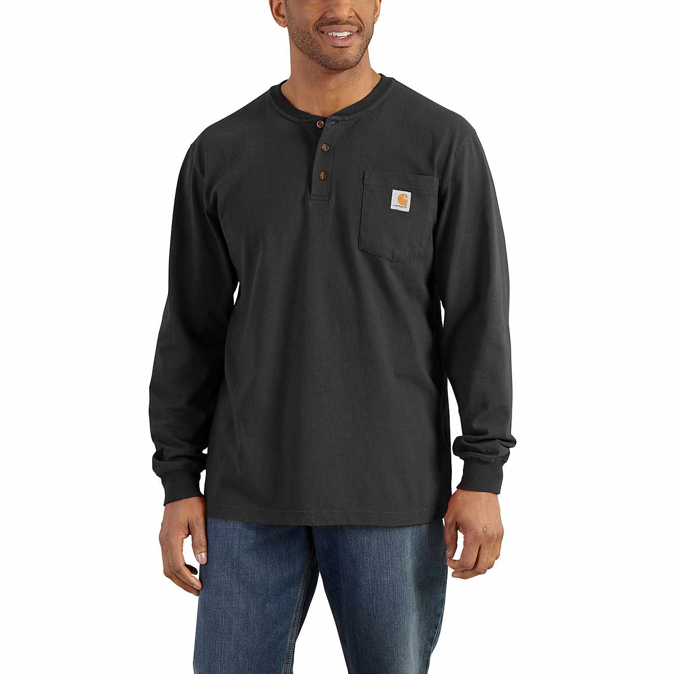 Picture of Loose Fit Heavyweight Long-Sleeve Pocket Henley T-Shirt in Black