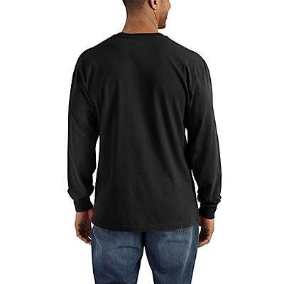 Carhartt Men's Dark Cobalt Blue Heather Workwear Long-Sleeve Henley T-Shirt - back