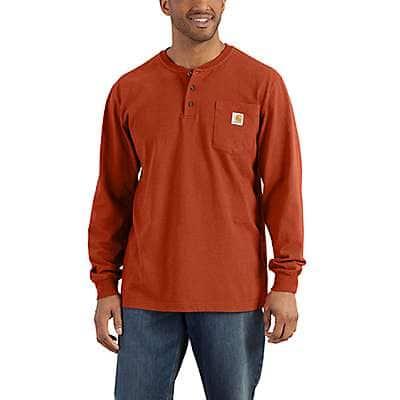 Carhartt Men's Jasper Heather Loose Fit Heavyweight Long-Sleeve Pocket Henley T-Shirt