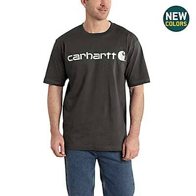 Carhartt Men's Oil Green Heather Short-Sleeve Logo T-Shirt - front