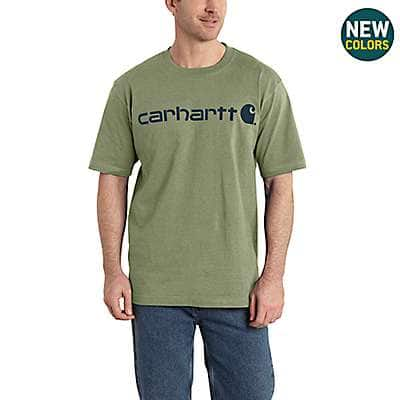 Carhartt  Oil Green Heather Short-Sleeve Logo T-Shirt - front
