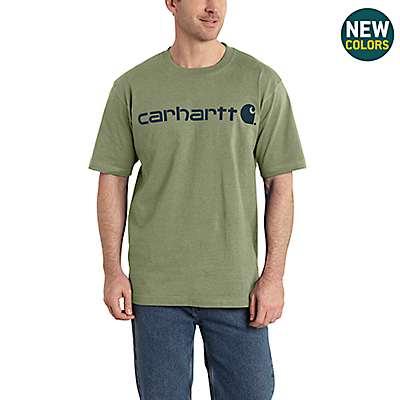 Carhartt Men's Oil Green Heather Short-Sleeve Logo T-Shirt - front