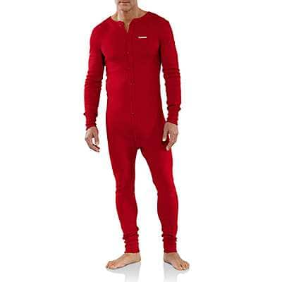Carhartt Men's Red Midweight Cotton Union Suit - front