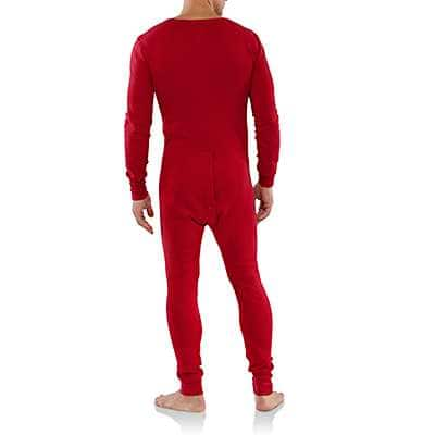 Carhartt Men's Red Midweight Cotton Union Suit - back