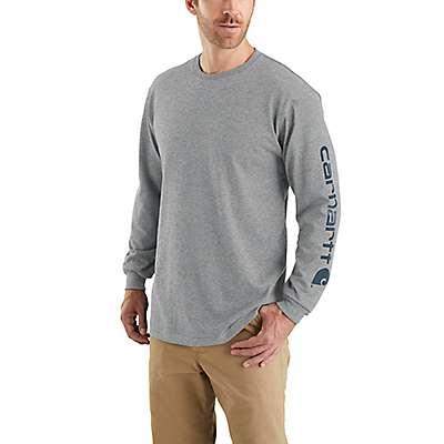 Carhartt Men's Black Workwear Long-Sleeve Graphic Logo T-Shirt - front