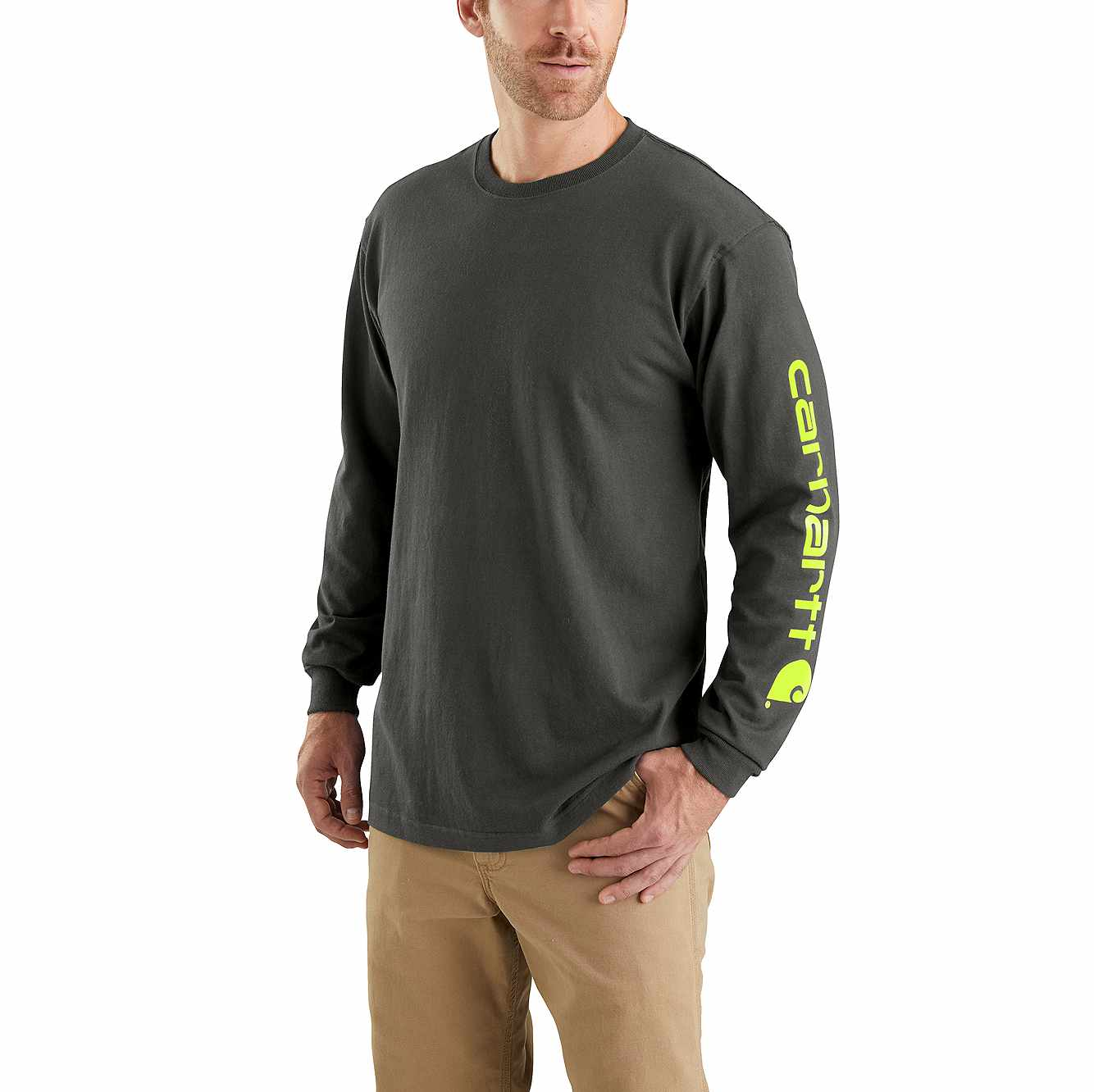 Picture of Loose Fit Heavyweight Long-Sleeve Logo Sleeve Graphic T-Shirt in Peat