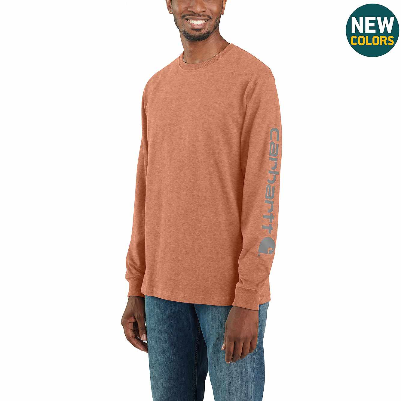 Picture of Loose Fit Heavyweight Long-Sleeve Logo Sleeve Graphic T-Shirt in Ginger Heather