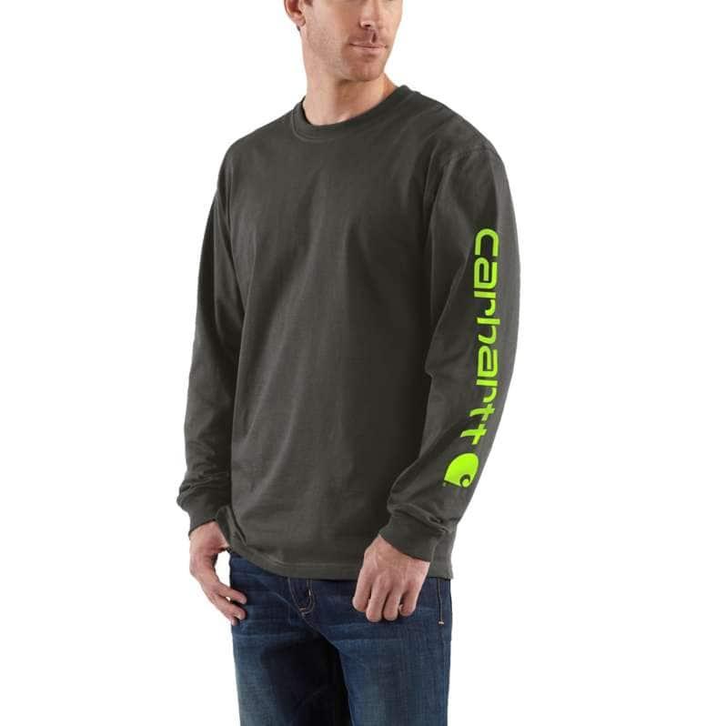 Carhartt  Peat Loose Fit Heavyweight Long-Sleeve Logo Sleeve Graphic T-Shirt