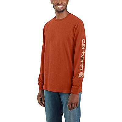 Carhartt Men's Jasper Heather Loose Fit Heavyweight Long-Sleeve Logo Sleeve Graphic T-Shirt