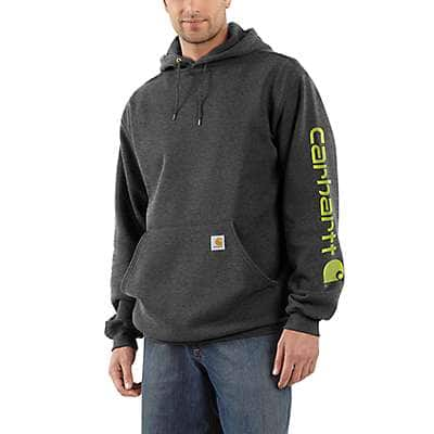 Carhartt Men's Black Midweight Hooded Logo Sweatshirt - front