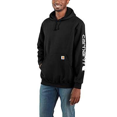 Carhartt Men's Black Midweight Hooded Logo Sweatshirt - front