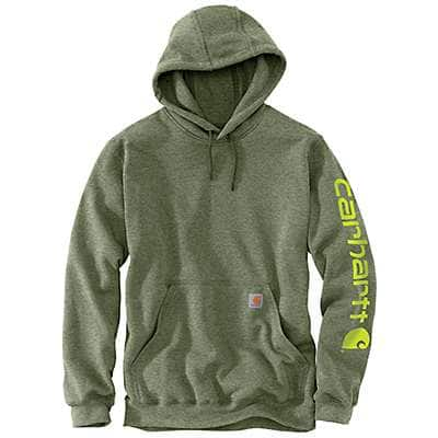 Carhartt Men's Olivine Heather Midweight Hooded Logo Sweatshirt - front