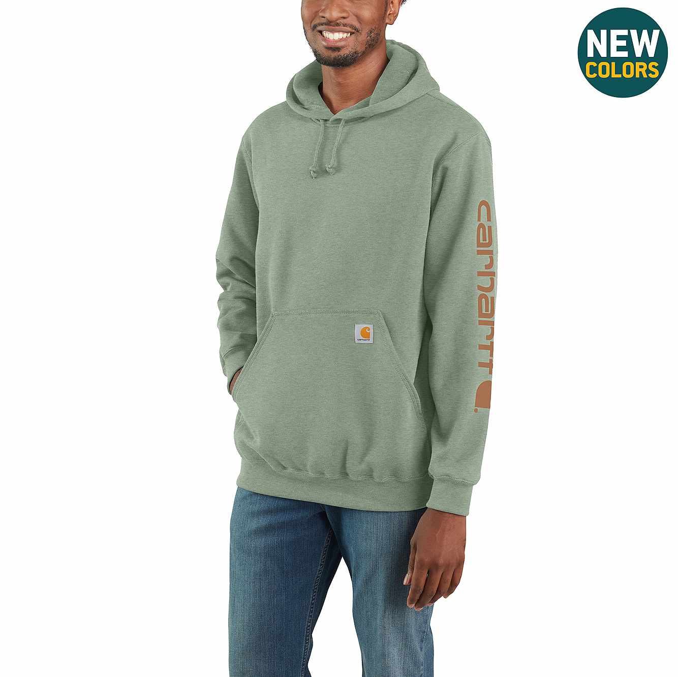 Picture of Midweight Hooded Logo Sweatshirt in Leaf Green Heather