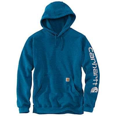 Carhartt Men's Bold Blue Heather Midweight Hooded Logo Sweatshirt - front