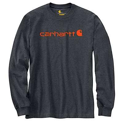 Carhartt Men's Granite Heather Long-Sleeve Logo T-Shirt - front