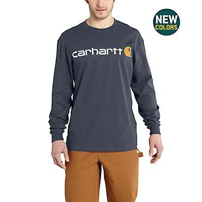 Carhartt Men's Bluestone Long-Sleeve Logo T-Shirt - front