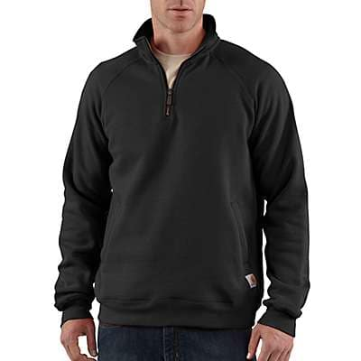 Carhartt Men's Black Midweight Quarter-Zip Mock-Neck Sweatshirt - front