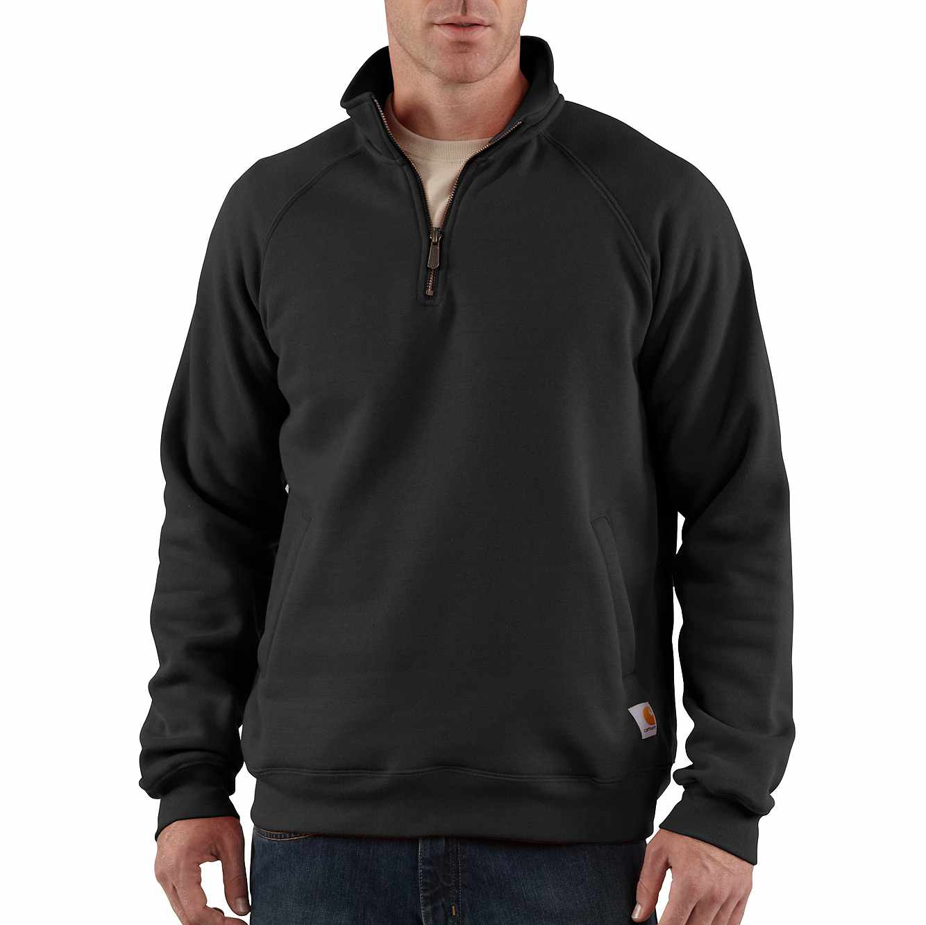 Picture of Midweight Quarter-Zip Mock-Neck Sweatshirt in Black