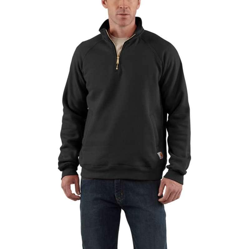 Carhartt  Black Midweight Quarter-Zip Mock-Neck Sweatshirt