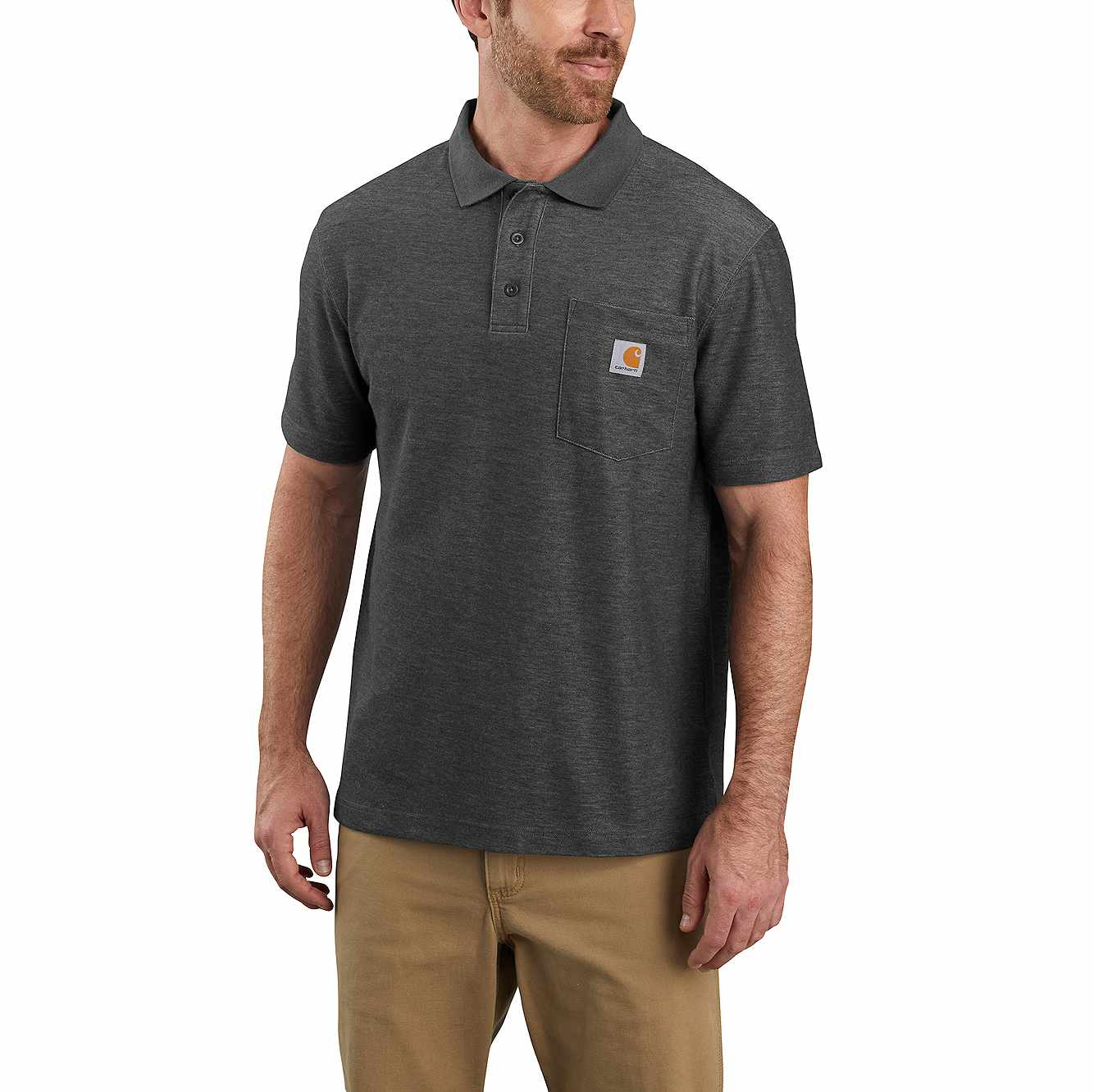 Picture of Loose Fit Midweight Short-Sleeve Pocket Polo in Carbon Heather