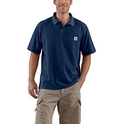 Carhartt Men's Dark Cobalt Blue Heather Loose Fit Midweight Short-Sleeve Pocket Polo