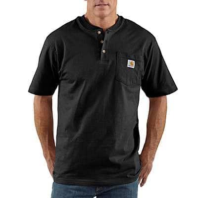 Carhartt Men's Black Workwear Short-Sleeve Henley T-Shirt - front