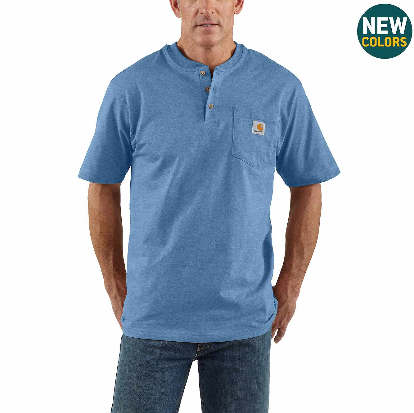 Picture of Loose Fit Heavyweight Short-Sleeve Pocket Henley T-Shirt in Coastal Heather