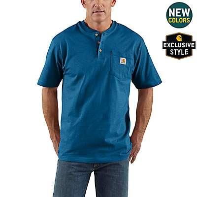 Carhartt Men's Bold Blue Heather Workwear Short-Sleeve Henley T-Shirt - front