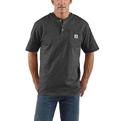 Carhartt Men's Carbon Heather Loose Fit Heavyweight Short-Sleeve Pocket Henley T-Shirt