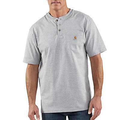 Carhartt Men's Heather Gray Loose Fit Heavyweight Short-Sleeve Pocket Henley T-Shirt