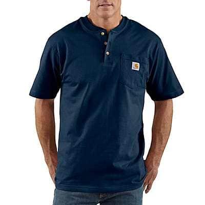 Carhartt Men's Navy Loose Fit Heavyweight Short-Sleeve Pocket Henley T-Shirt