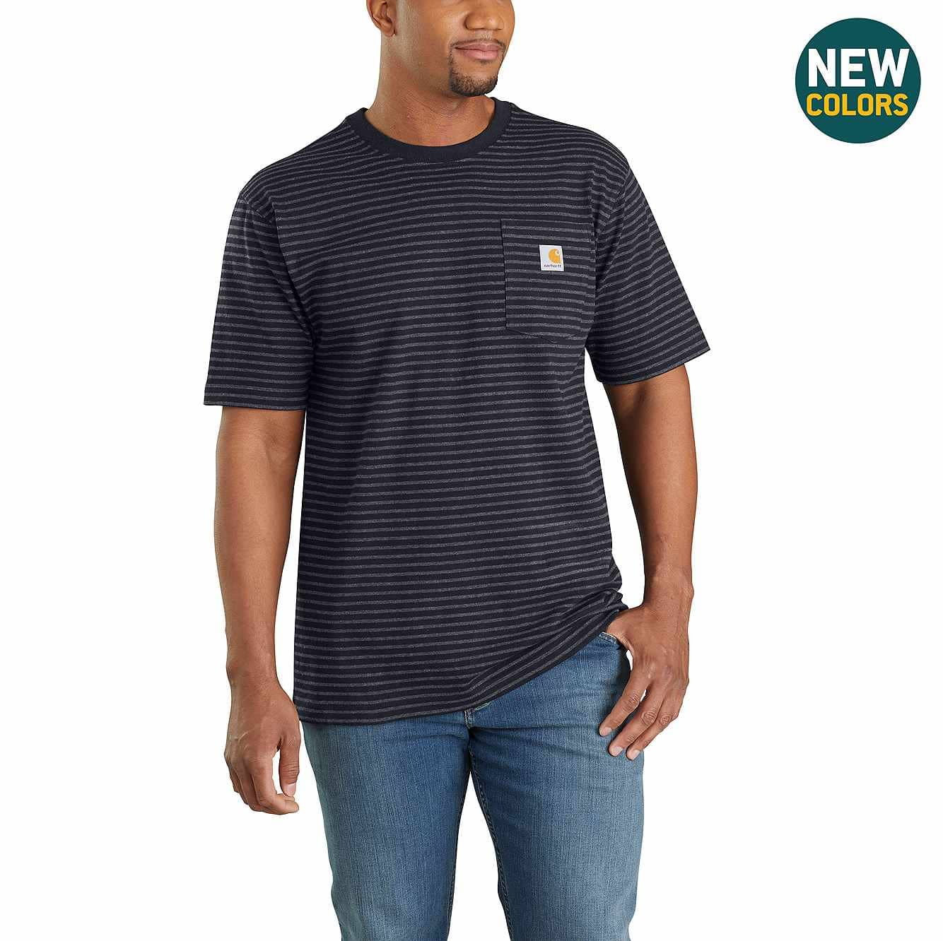 Picture of Loose Fit Heavyweight Short-Sleeve Pocket T-Shirt in Black Stripe
