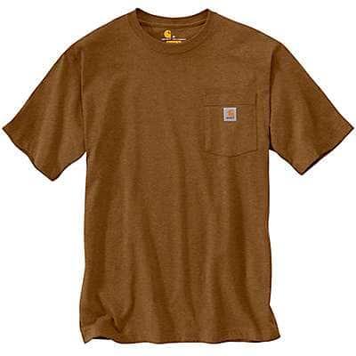 Carhartt Men's Oiled Walnut Heather Loose Fit Heavyweight Short-Sleeve Pocket T-Shirt