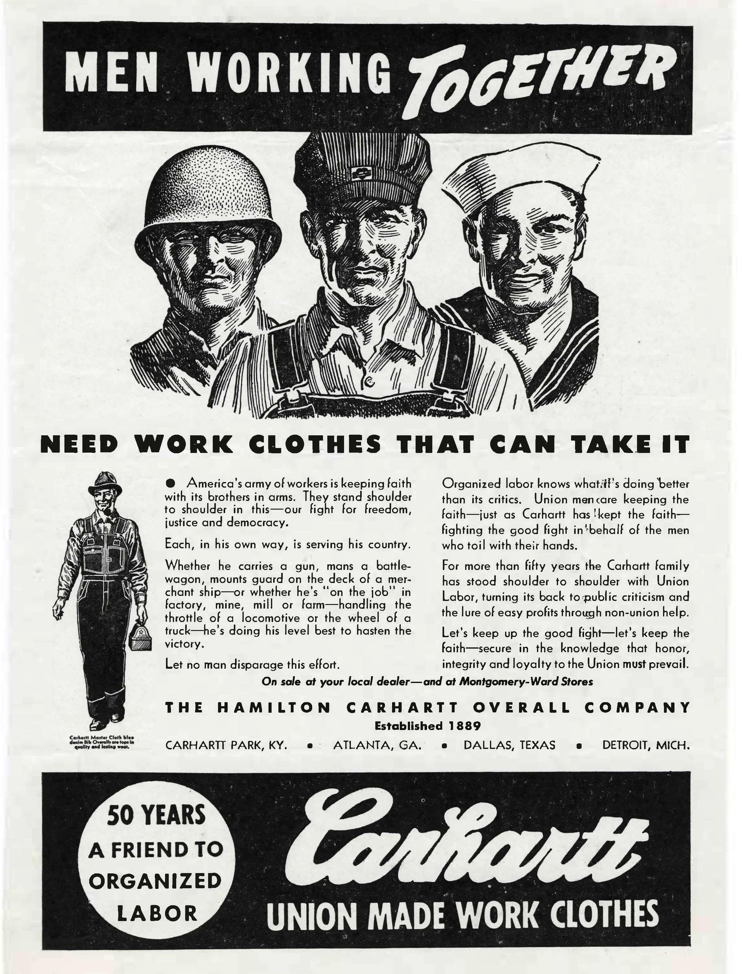 Carhartt WWII advertisement, circa  1943