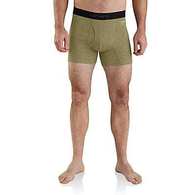"Carhartt Men's Burnt Olive Grid Carhartt Base Force® 5"" Tech Boxer Brief - front"