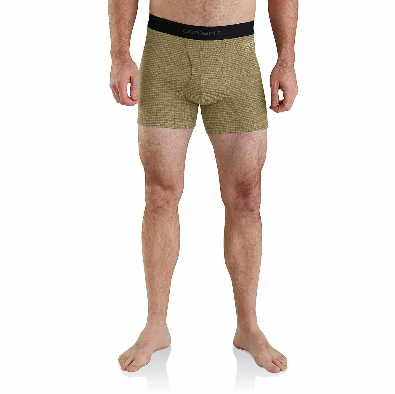 """Picture of Carhartt Base Force® 5"""" Tech Boxer Brief in Burnt Olive Grid"""