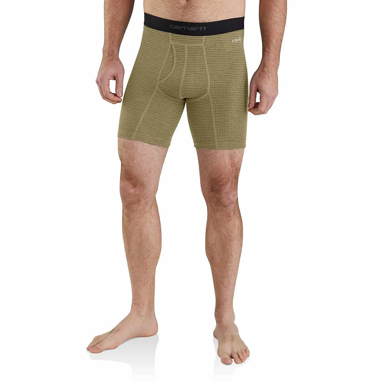 """Picture of Carhartt Base Force® 8"""" Tech Boxer Brief in Burnt Olive Grid"""