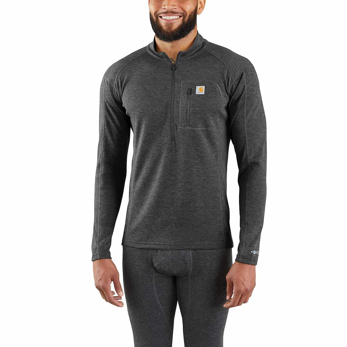 Picture of Base Force® Heavyweight Poly-Wool Quarter-Zip in Black