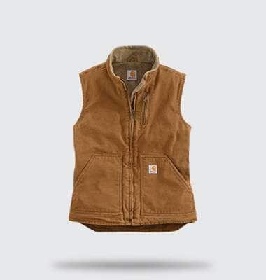 womens sandstone mock-neck vest, shop now