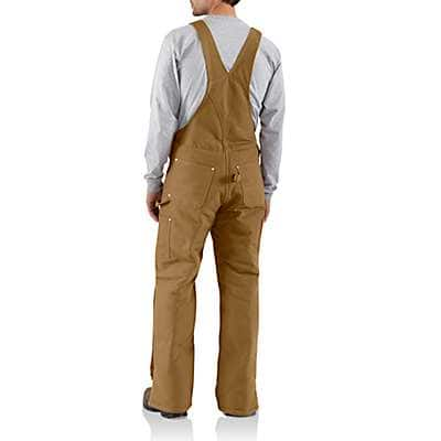 Carhartt Men's Carhartt Brown Duck Bib Overall / Arctic Quilt Lined - back