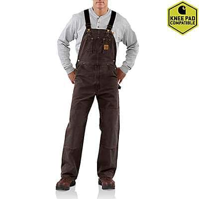 Carhartt Men's Dark Brown Sandstone Bib Overall/Unlined - front